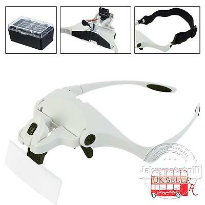 Head Magnifier With 2 LED Lights Magnifying Glass Hands Free LED Lamp Headband