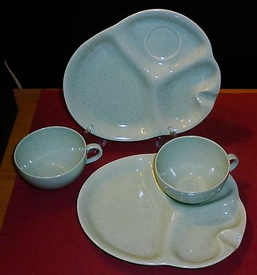 Fab Pair Porcelain 1950S Cups And Saucers Snack Set Excellent Condition