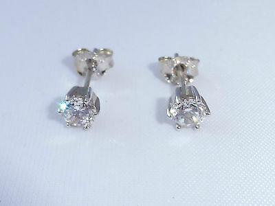 Ladies Sterling 925 Solid Silver Hallmarked White Sapphire Gift Earrings