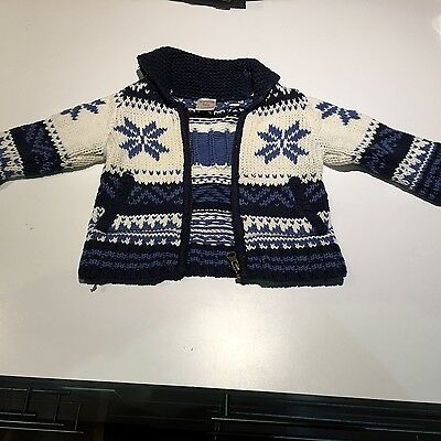 SEED - Boys knitted blue zip up jumper - size 6-9 months