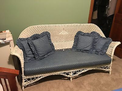 Antique Wicker Love Seat & Storage Table