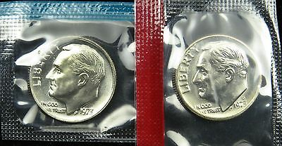 1973 P and D Set of Uncirculated BU Roosevelt Dime Mint Cello (B01)