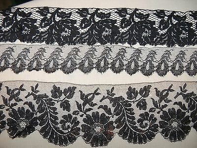 LOT of Antique Black Lace Trim edging Craft sewing salvage scraps mixed