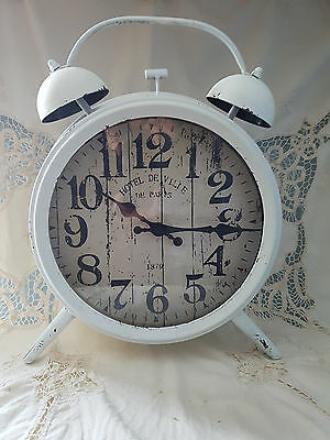 New  Large White Metal Retro Alarm Shaped Clock Shabby Chic Vintage
