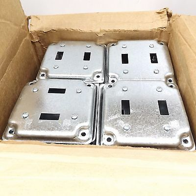 "Case Of 50 Eaton Tp508 Square Cover 4"" For 2 Toggle Switches 1/2"" Raised"