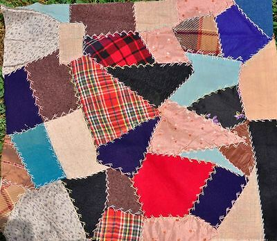 19thc LOVELY EMBROIDERED CRAZY VINTAGE ANTIQUE QUILT BLOCK – DOLL/CUSHION - #4