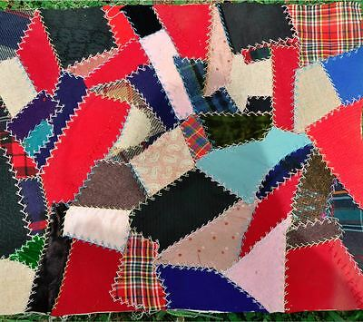 19thc LOVELY EMBROIDERED CRAZY VINTAGE ANTIQUE QUILT BLOCK – DOLL/CUSHION - #7