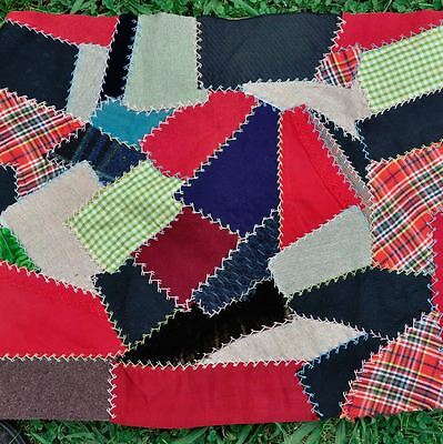 19thc LOVELY EMBROIDERED CRAZY VINTAGE ANTIQUE QUILT BLOCK – DOLL/CUSHION - #1
