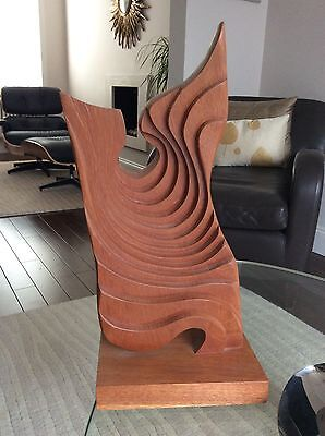 Large Brian Willsher Wood Sculpture Signed Dated 2001 49Cm