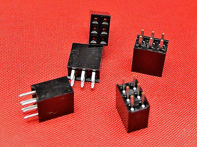 3+3 Way PCB Header Socket Strip DOUBLE ROW Gold Plated TFH06DS