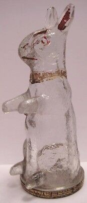Wonderful Antique Glass Candy Container Toy Easter Rabbit Tin Lid 1900s-20s RARE