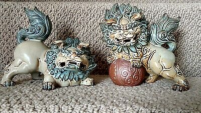 Vintage Pair Beautiful Fu Foo Dog Lion Figures Made in Japan Rich Matte finish
