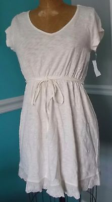 Motherhood Oh Baby Cap Sleeve Ivory Maternity Top - Lace Trim Tunic - Small -Nwt