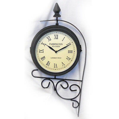 Outdoor Garden Wall Clock with Thermometer Sun Moon 2 in 1 Design in Terracotta