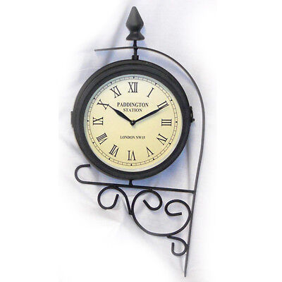 Station Wall Clock Hanging Retro Vintage Dual Face Roman Numeral Outdoor Garden