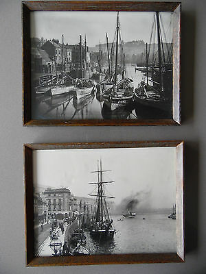 Pr Whitby Harbour 1890 Frank Meadow Sutcliffe Seascape Photo prints 60s Framed.