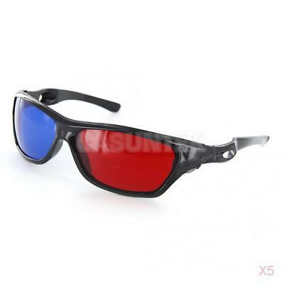 5x BLK Frame Red Blue 3D Glasses For Dimensional Anaglyph Movie Game DVD TV