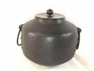 Antique Japanese Chagama Chado Tea Ceremony Cast Iron Water Pot W/bronze Lid