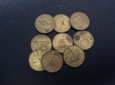 Vintage Lot Of 9 State Of Connecticut Turnpike Transit Tokens
