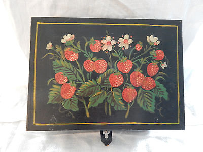 Vintage SIGNED SQUARE TOLE TOLEWARE Painted Metal Lunchbox FOLK ART-Strawberries
