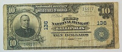 1902 $10 First National Bank of Gallipolis Ohio National Currency Unsigned!