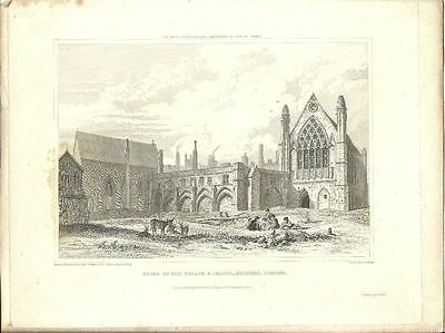 LONDON antique print ELY PALACE AND CHAPEL Holborn 1825 original ART vintage
