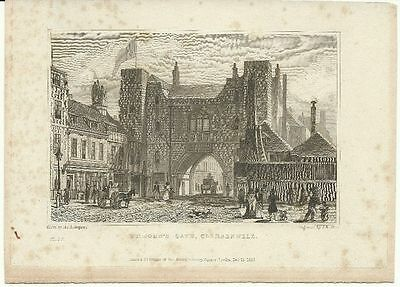 LONDON antique print ST JOHN'S GATE CLERKENWELL East 1829 original ART vintage