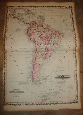 1863 ORIGINAL, SOUTH AMERICA, Hand Colored, large, Johnson antique map