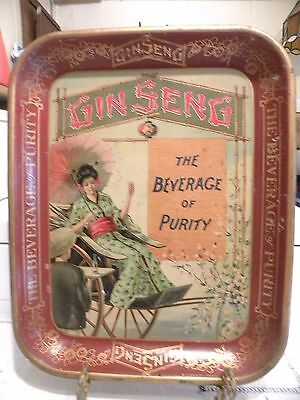 """Rare Vintage 1920's Original Gin Seng Soda Serving Tray """"The Beverage Of Purity"""""""
