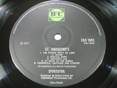 SPIROGYRA ST RADIGUND'S RARE B&C UK ORIGINAL FIRST SUPERB EXAMPLE cw LYRIC INNER