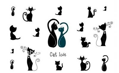 Small Black Cats Tattoos Temporary Stickers Halloween Stickers Body Art Witches