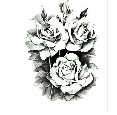 Black Roses Flower Temporary Tattoos Stickers Body 3D Rose Tatoo Waterproof