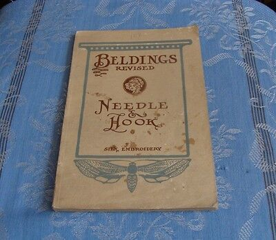 ANTIQUE NEEDLEWORK BOOK/MANUAL/COLOR PLATES BELDINGS NEEDLE & HOOK 80 pages