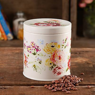 The Pioneer Woman Country Garden CANISTER W/ LID - ROUND - LINEN - COATED STEEL