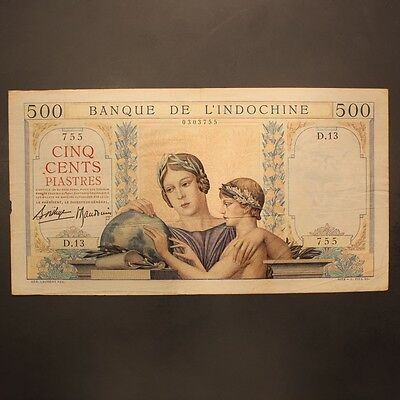French Indo-China 500 Piastres ND(1939) P#57 Banknote VF