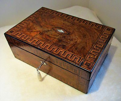 Large Victorian Walnut Burr,sewing/storage Box(Former Writing Slope)Inlay Bands.