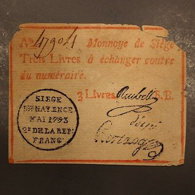 Germany - Mainz 3 Livres May 1793 P#S1477b Banknote Net VG