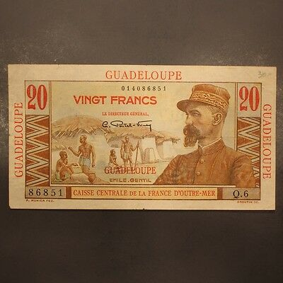 Guadeloupe 20 Francs ND(1947-49) P#33 Banknote ChVF