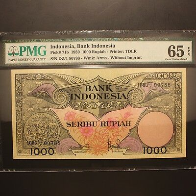 Indonesia 1000 Rupiah 1959 P#71b PMG 65 EPQ - Gem Uncirculated
