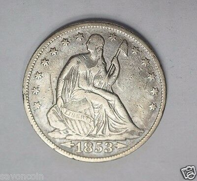 1853 Seated Liberty Half Dollar with Arrows & Rays VF (A-16)