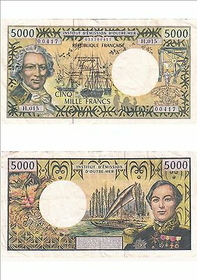 Billet banque FRENCH PACIFIC TAHITI POLYNESIE OUTRE-MER 5000 F étatvoirscan 417