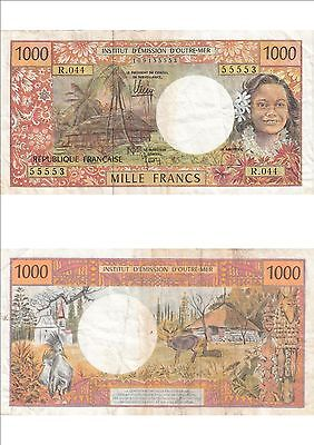 Billet banque FRENCH PACIFIC TAHITI POLYNESIE OUTRE-MER 1000 F état voirscan 553