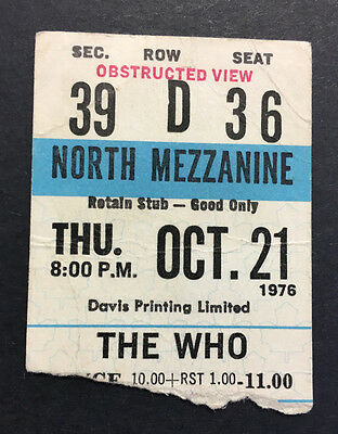 1976 The Who Concert Ticket Stub Keith Moon's Final Concert Ever Toronto RARE