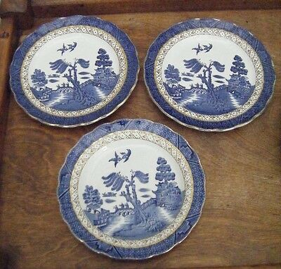 Vintage Booths Real Old Willow Gilt-Edged A8025 - 3 Side/Tea Plates