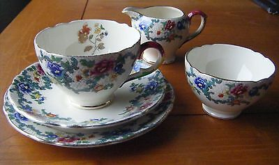 Vintage 1950s Royal Cauldon Victoria Tea Set for 1