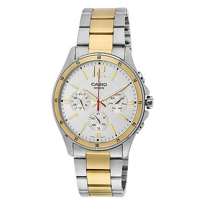 Casio MTP1374SG-7A Mens Stainless Steel 50M Gold Tone Silver Dress Watch