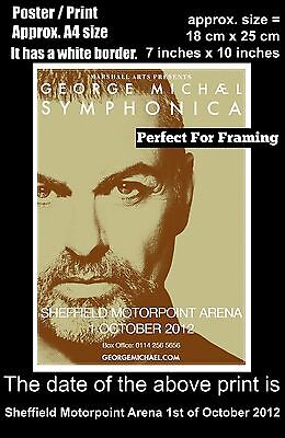 George Michael live Sheffield Motorpoint Arena 1st October 2012 A4 poster print