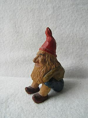 "Vintage Wood Carving  GNOME 3"" Hand Carved Folk Art Red Pointed Hat 1955 Signed"