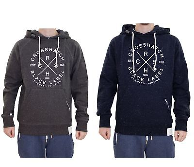 New Mens Crosshatch Brand Printed Pullover Hoodie Fleck Effect Sweatshirt Top