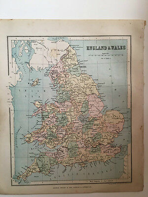 1882 - Antique map of England and Wales
